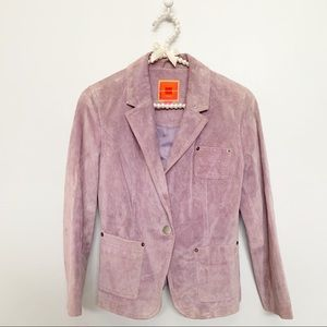Lilac Purple Suede Leather Blazer Isaac Mizrahi